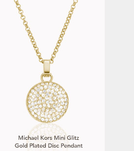 Michael Kors Mini Glitz Gold Plated Disc Pendant
