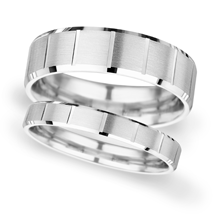 4mm Slight Court Extra Heavy vertical lines Wedding Ring in 9 Carat White Gold