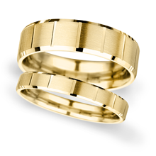 4mm Slight Court Extra Heavy vertical lines Wedding Ring in 9 Carat Yellow Gold