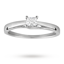 Canadian Ice princess cut 0.25 carat solitaire diamond ring in 18 carat white gold