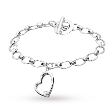 Canadian Ice Silver Diamond Heart Charm Bracelet