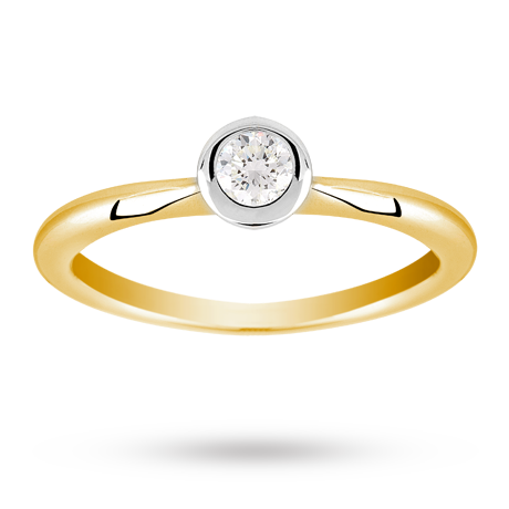 Canadian Ice brilliant cut 0.20 carat solitaire diamond ring set in 18 carat yellow gold