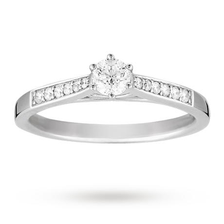 Brilliant Cut 0.33 Total Carat Weight Solitaire And Diamond Set Shoulders  Ring Set In 18 Carat White Gold