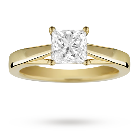 ... princess cut 1.00 carat solitaire diamond ring in 18 carat yellow gold