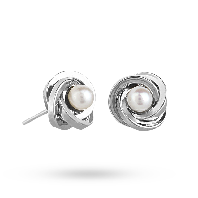 9ct White<br /> Gold and Pearl Knot Stud Earrings