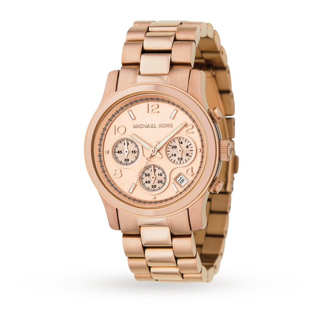 Michael Kors Ladies Rose Gold Plated Chronograph Watch