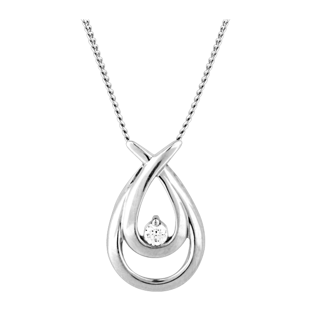 Canadian Ice Silver Diamond Crossover Pendant