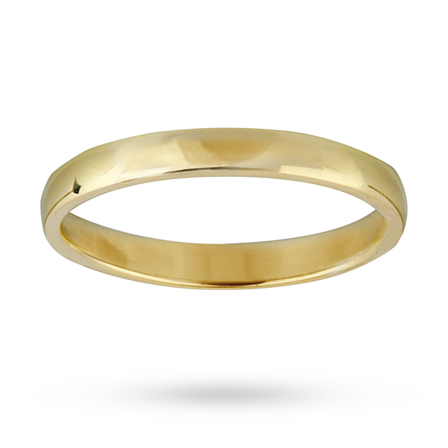 Image of 2mm ladies court ring in 9 carat yellow gold