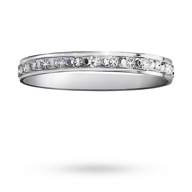 Image of 2.5mm ladies diamond cut wedding band in 9 carat white gold - Ring Size I