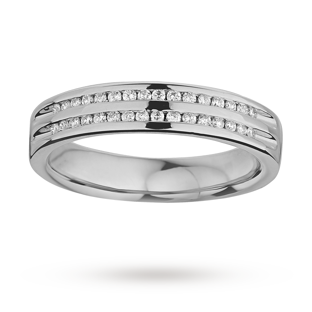 Ladies double row diamond set wedding ring in 9 carat white gold