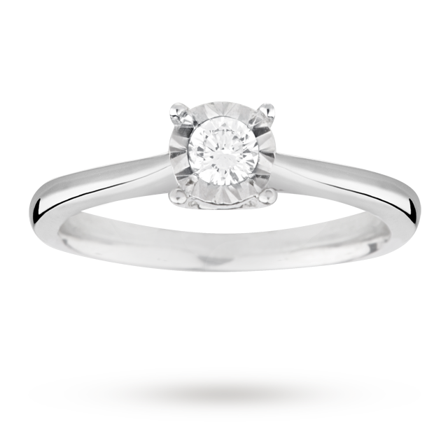 Brilliant cut 0.15 carat solitaire diamond ring in 9 carat white gold - Ring size G