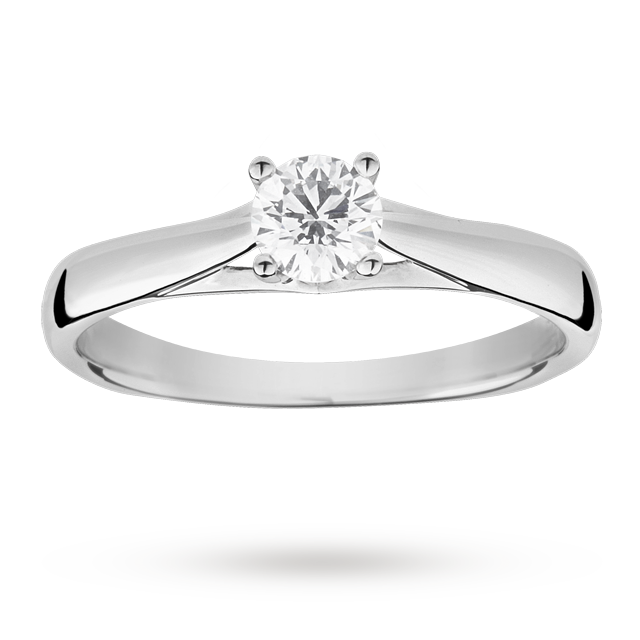 Brilliant cut 0.33 carat solitaire diamond ring set in 18 carat white gold - Ring size K.
