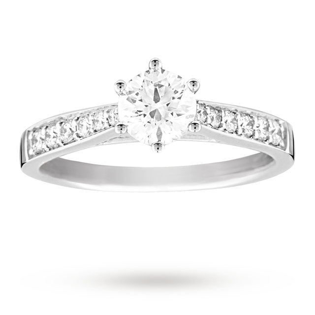 Brilliant Cut 0.65 Total Carat Weight Solitaire And Diamond Set Shoulders Ring Set In 18 Carat White Gold - Ring Size K.