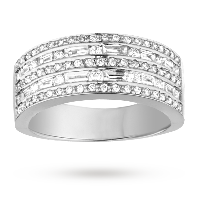 Brilliant and Baguette cut 0.75 total carat weight diamond cocktail ring in 18 carat white gold