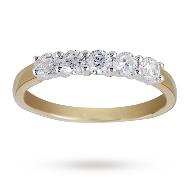 0.50 Total Carat Weight Brilliant Cut Diamond 5 Stone Ring In 18 Carat Yellow Gold