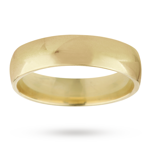 5mm gents standard court wedding ring in 18 carat yellow gold - Ring Size J.5