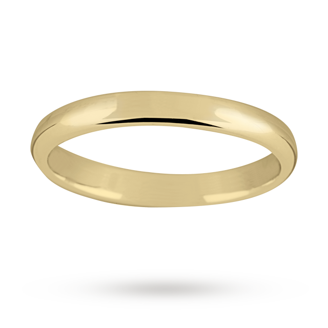 Image of 2.5mm ladies standard court wedding ring in 18 carat yellow gold