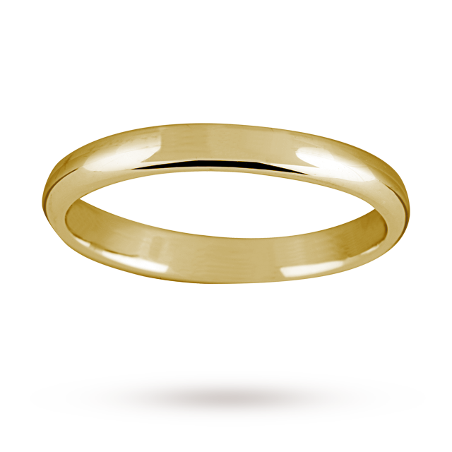Image of 2.5mm ladies standard court wedding ring in 9 carat yellow gold