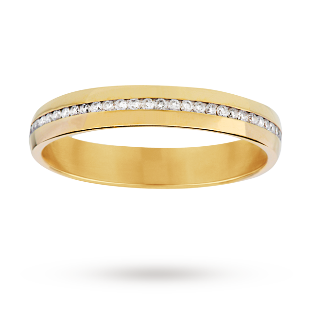 0.30 total carat weight diamond set ladies wedding ring in 18 carat yellow gold