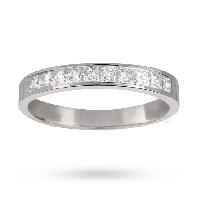 0.50 Total Carat Weight Princess Cut Diamond Eternity Ring In 18 Carat White Gold - Ring Size M.