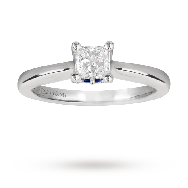 Vera Wang Love princess cut 0.57 carat solitaire diamond ring in 18 carat white gold