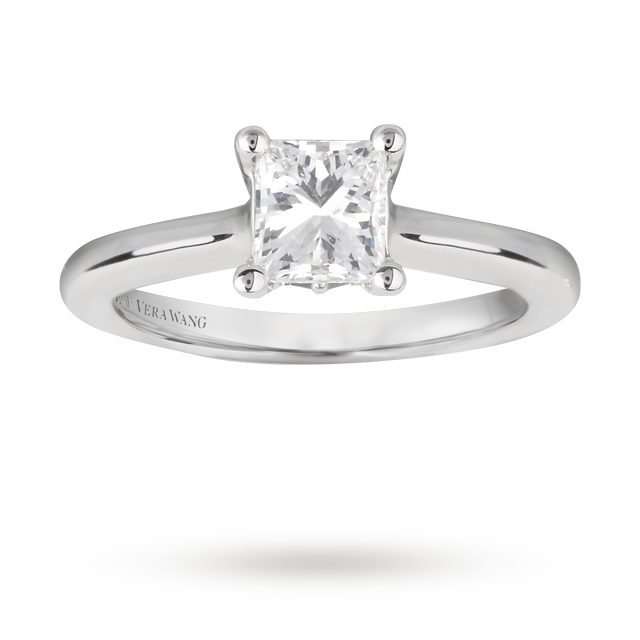 Vera Wang Love princess cut 1.12 carat solitaire diamond ring in 18 carat white gold