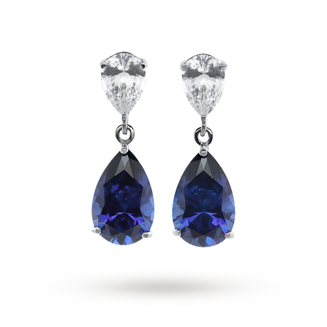 CARAT 9ct Gold Sapphire Blue Coloured Drop Earrings