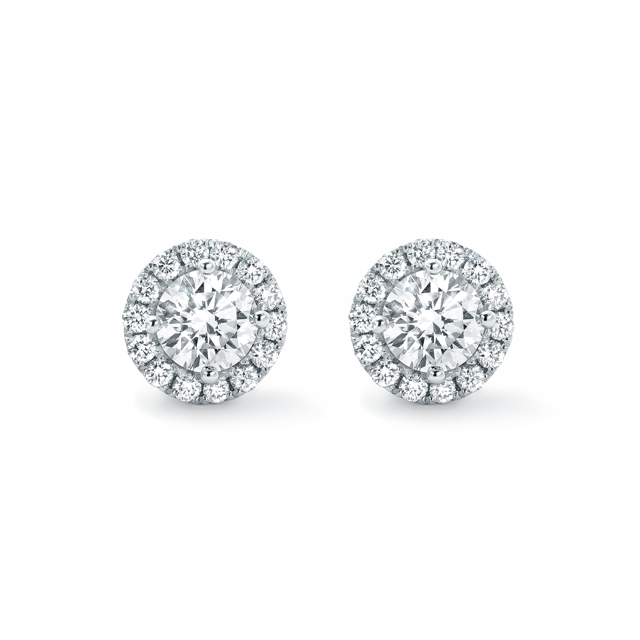Halo White Gold and Diamond Stud Earrings