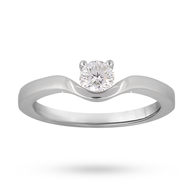 Solitaire blossom cut 0.30 carat diamond ring in 18 carat white gold