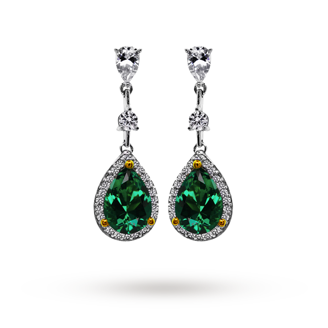 CARAT Silver Pear Cut Emerald Green Coloured Drop Earrings