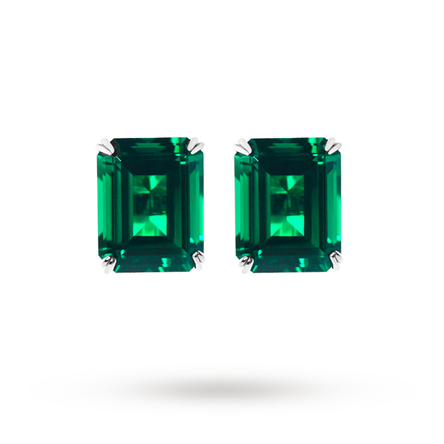 CARAT 9ct Emerald Green Coloured Stud Earrings