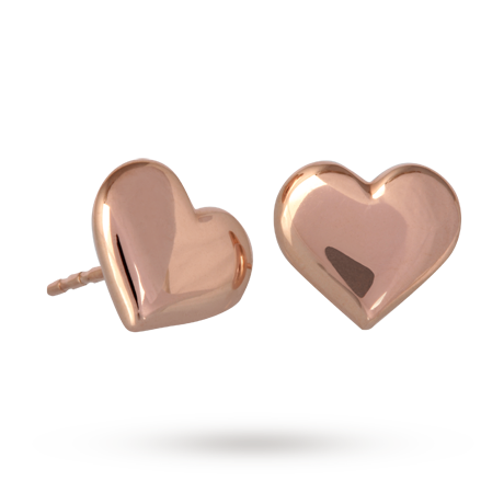 9ct Rose Gold Heart Stud<br /> Earrings