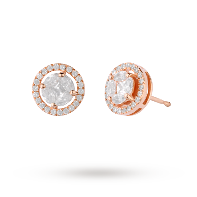 18ct Rose Gold 0.50ct Diamond Halo Stud Earrings