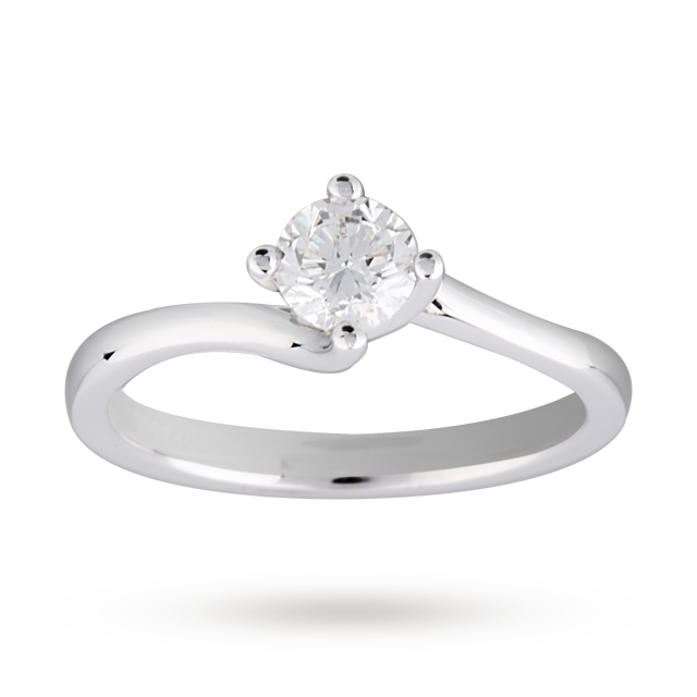 Brilliant Cut 0.50 Carat Solitaire Twist Ring in 18 Carat White Gold