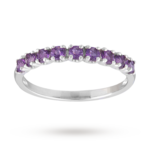 Amethyst Eternity Ring in 9 Carat White Gold - Ring Size M