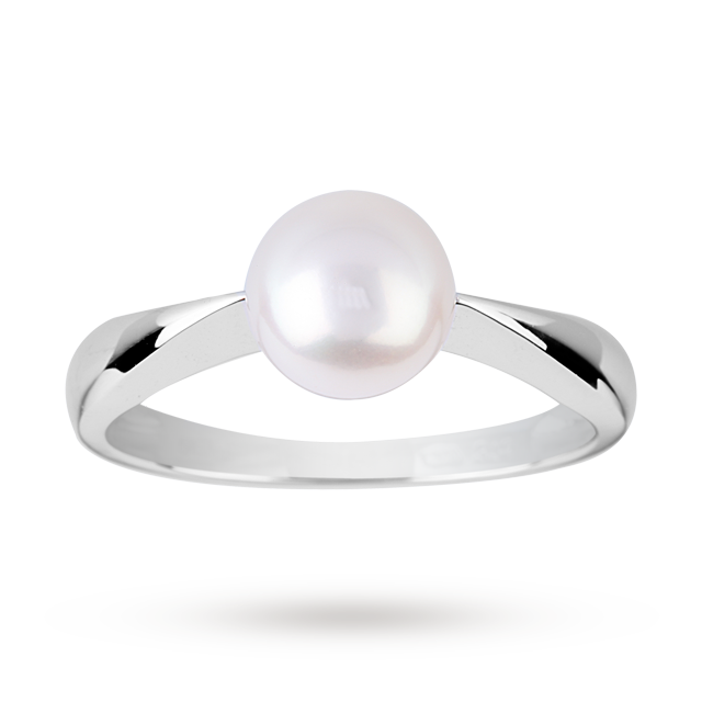 Fresh Water Pearl Ring in 9 Carat White Gold