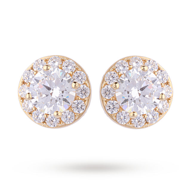 9ct Yellow Gold Cubic Zirconia Halo Stud Earrings