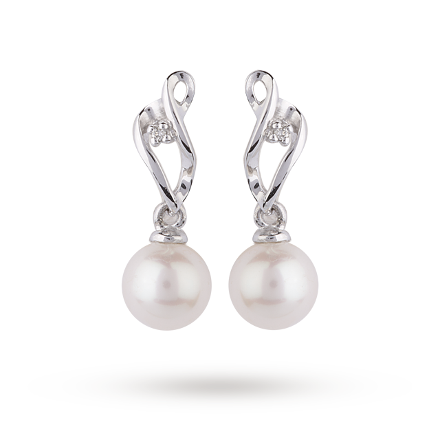 9ct White Gold Fresh Water Pearl Drop Earrings