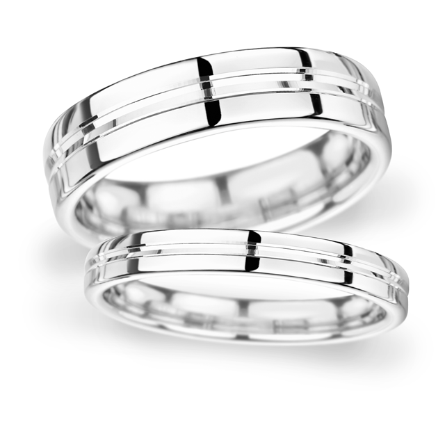 8mm D Shape Heavy Grooved polished finish Wedding Ring in 9 Carat White Gold
