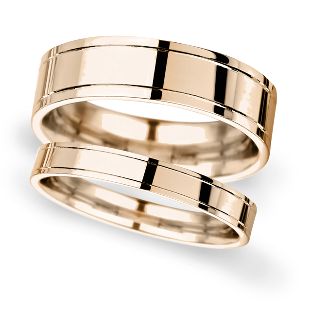 6mm Flat Court Heavy Polished Finish With Grooves Wedding Ring In 9 Carat Rose Gold