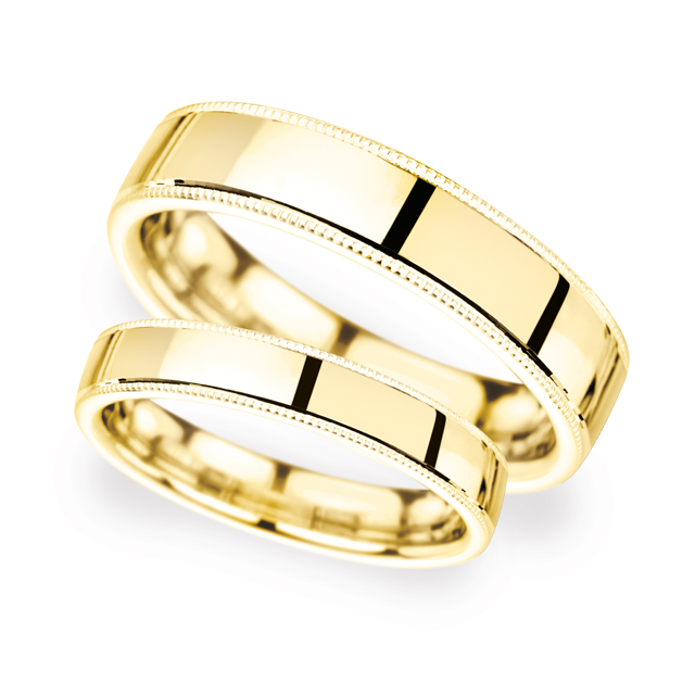 5mm Traditional Court Standard Milgrain Edge Wedding Ring In 18 Carat Yellow Gold