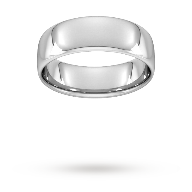 7mm Slight Court Standard  Wedding Ring In 9 Carat White Gold