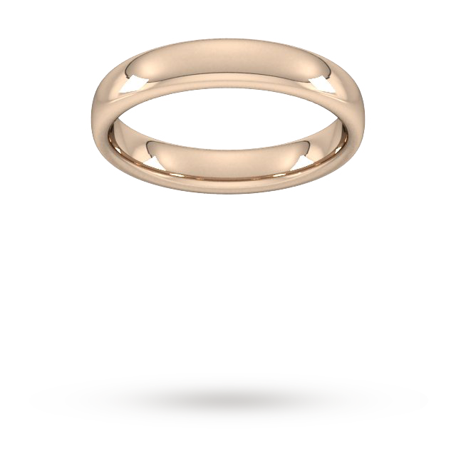 4mm Slight Court Heavy  Wedding Ring In 18 Carat Rose Gold - Ring Size Q.