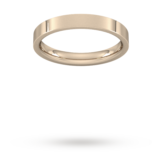 3mm Flat Court Heavy  Wedding Ring in 9 Carat Rose Gold- Ring Size N.