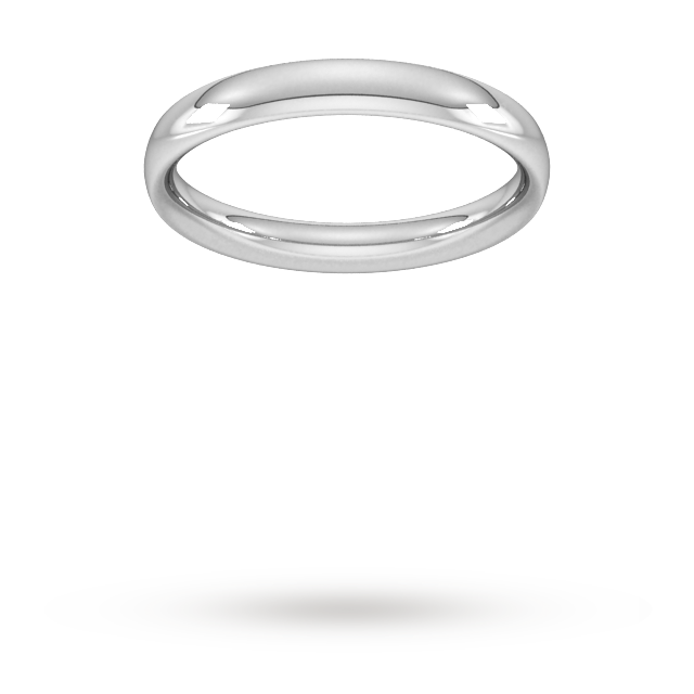 3mm Traditional Court Heavy  Wedding Ring in 18 Carat White Gold- Ring Size O.