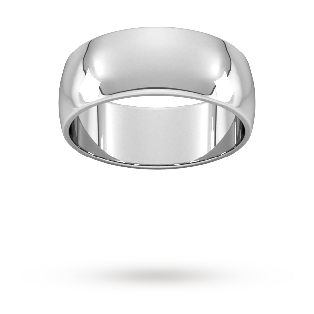 8mm D Shape Standard  Wedding Ring In 9 Carat White Gold