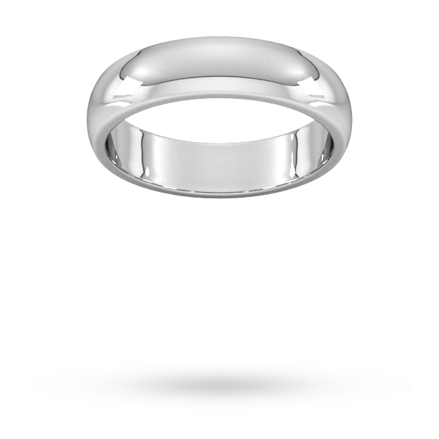 5mm D Shape Heavy Wedding Ring In 9 Carat White Gold