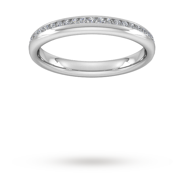Image of 0.18 Carat Total Weight Brilliant Cut Channel Set With Matt Finish Diamond Wedding Ring In 18 Carat White Gold