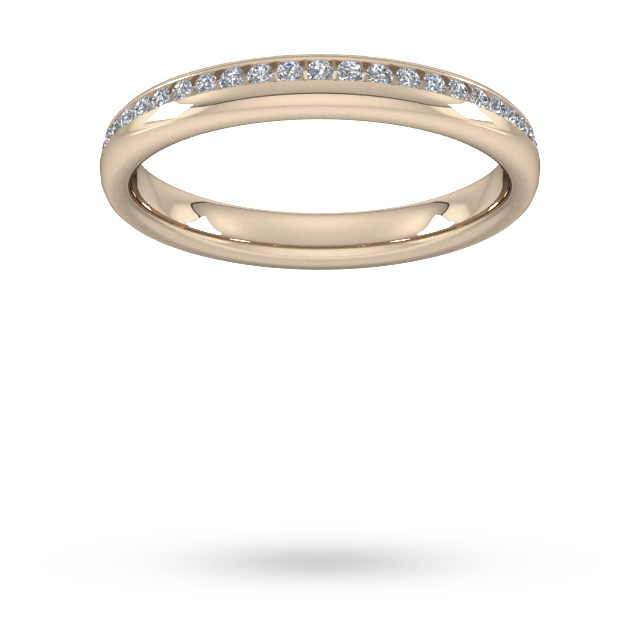Image of 0.18 Carat Total Weight Brilliant Cut Channel Set With Matt Finish Diamond Wedding Ring In 18 Carat Rose Gold