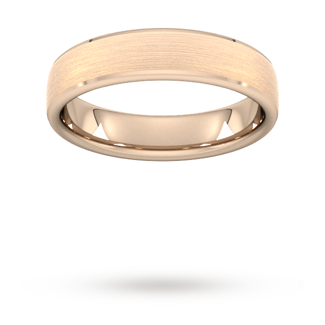 5mm Traditional Court Standard Polished Chamfered Edges With Matt Centre Wedding Ring In 18 Carat Ro